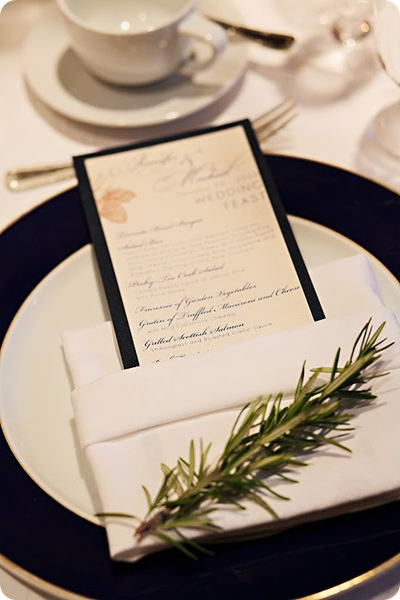menu sprig of rosemary place setting