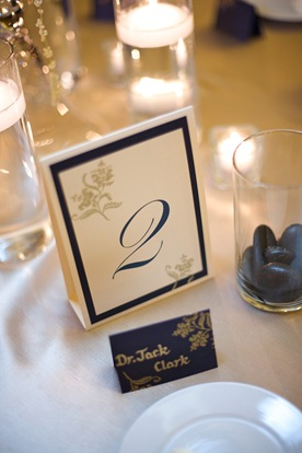 navy blue gold table number place card