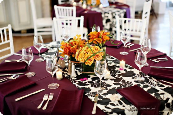 purple damask tablescape orange callas orchids roses Via Sixpence For Your Shoe