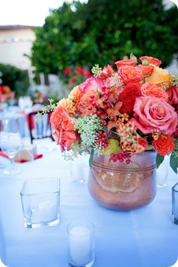 red pink orange aqua tablescape textures