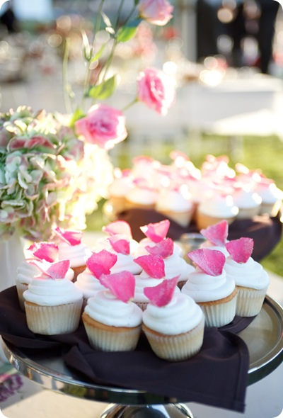 simple rustic outdoor wdding cupcakes hydrangeas