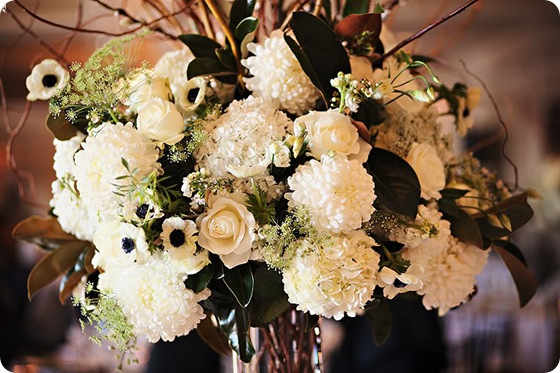 tall white centerpiece willows dahlias anemonies 2