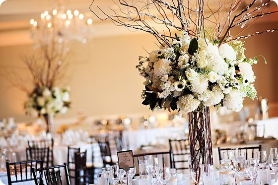tall white centerpiece willows dahlias anemonies