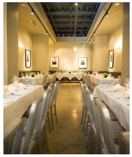 The private dining space at Vie Restaurant, shown here as a reception venue – photo via  Imaginative Studios