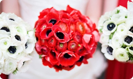 wedding white red anemones bouquet  Source