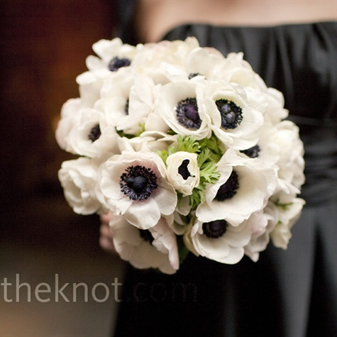 white anemone bouquet via  The Knot