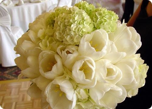 white Tulip bouquet green hydrangea  Source