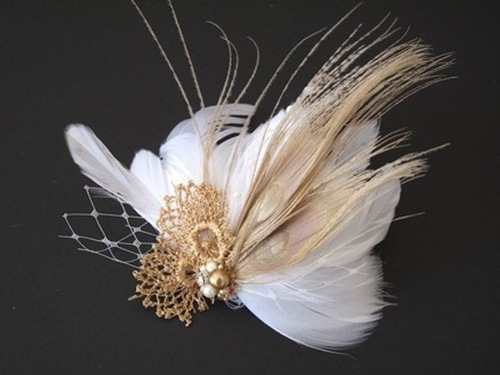 white and gold feather fascinator
