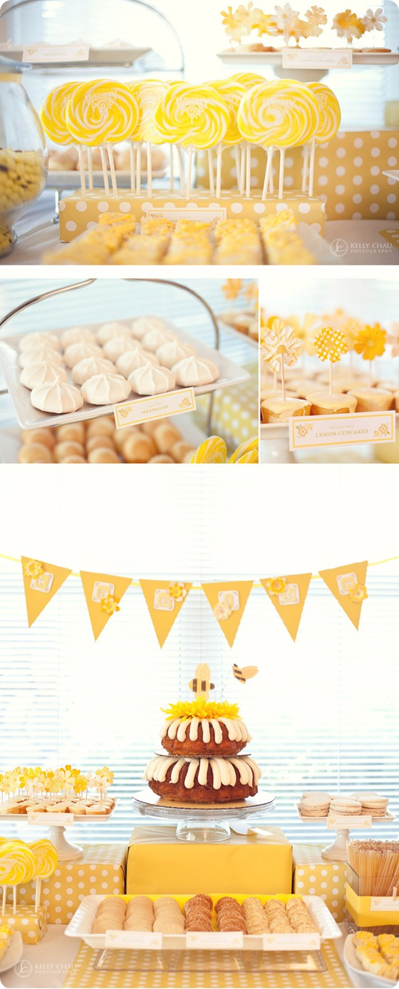 yellow candy cookie table tablescape whimsical bee cake