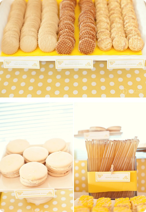 yellow polka dot candy cookie table tablescape whimsical 2