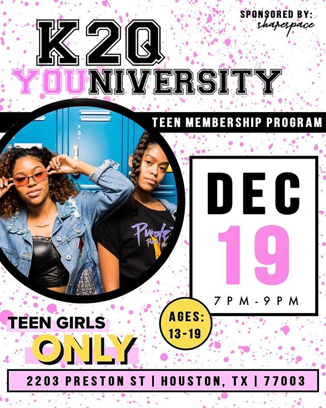 Whoa! December already?! COOL BEANS, that means we are 2 weeks away from our December #K2QU session! ⠀⠀⠀⠀⠀⠀⠀⠀⠀ ⠀⠀⠀⠀⠀⠀⠀⠀⠀ Become a member of K2QU just by showing up! We'll have all the information you need upon arrival. ♥️⠀⠀⠀⠀⠀⠀⠀⠀⠀ ⠀⠀⠀⠀⠀⠀⠀⠀⠀ You absolutely do not want to miss this. 😩😍 There will be juicy/transparent girl chat, games, sweet treats, and tons of cool teens from across Houston! ⠀⠀⠀⠀⠀⠀⠀⠀⠀ ⠀⠀⠀⠀⠀⠀⠀⠀⠀ Our last sesh was a sold out event, so secure your spot ASAP! Click the link in our bio💖⠀⠀⠀⠀⠀⠀⠀⠀⠀ ⠀⠀⠀⠀⠀⠀⠀⠀⠀ ⠀⠀⠀⠀⠀⠀⠀⠀⠀ ⠀⠀⠀⠀⠀⠀⠀⠀⠀ ⠀⠀⠀⠀⠀⠀⠀⠀⠀ #generationz #support #cheerleader #highschool #highschoolfriends #monday #mondaymotivation #mondaymood #mondaymorning #houstontx #houston #kweentoqueen #artsy #creative #teengirls #teengirl #girls #girlpower #teenvogue #seventeen #sixteen #teen #young #blogger #fun #inspiration #queen #empower