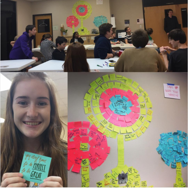 "The young feminists of United Christian Church of Austin's youth group spread their affirmation seeds by making a sticky note wall of affirmations in the shape of a dandelion for the congregation with the note, ""Take What You Need."" Send us your seeds so we can share them with the world @seedstoscatter!"