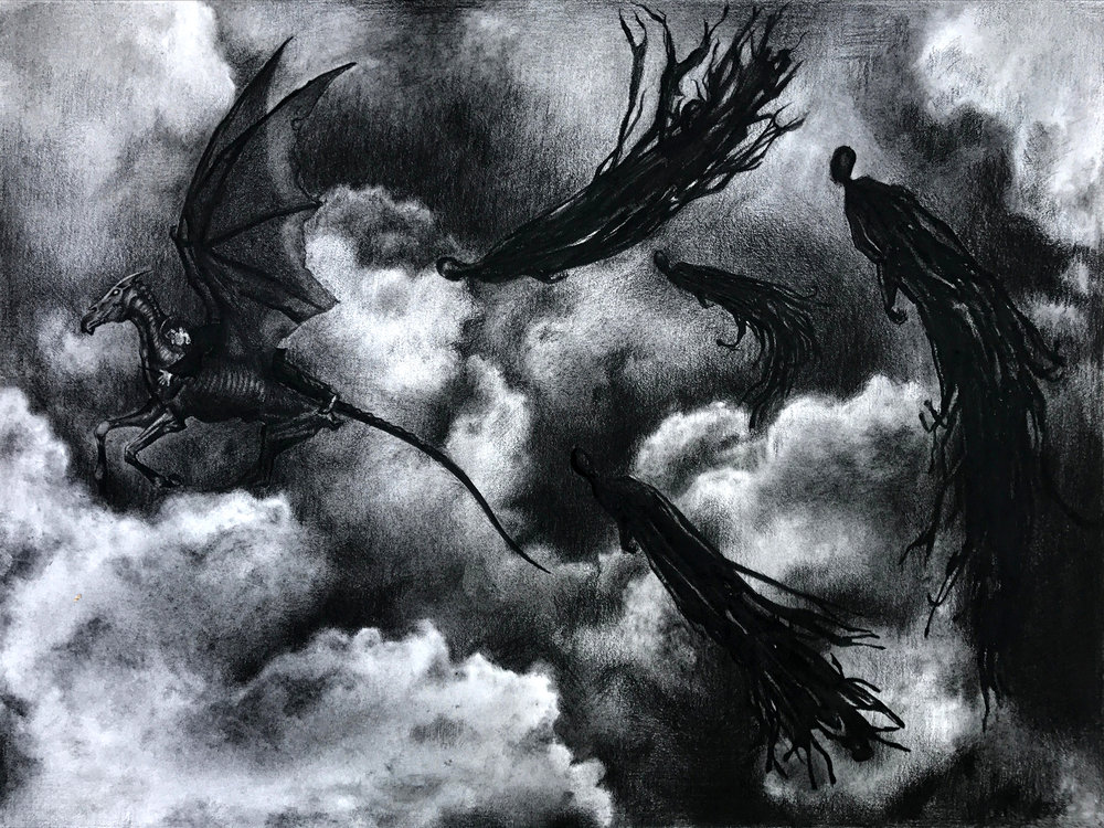 "Dark Night   18"" x 24"" Charcoal"