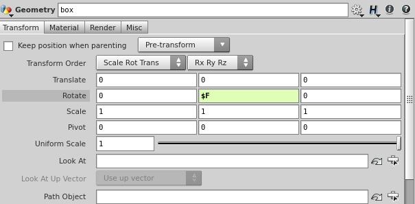 Rotate 파라미터는 오브젝트를 각 축(X,Y,Z) 으로 시키는 역할을 한다.