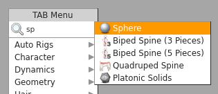 'sphere' 이름을 가진 원구 오브젝트가 생성된다.