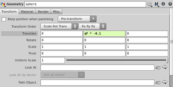 Translate 파라미터는 오브젝트를 각 축(X,Y,Z) 으로 이동시키는 역할을 한다.