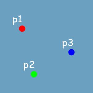 p1 어트리뷰트 이름: color /값: <1, 0, 0> p2 어트리뷰트 이름: color / 값: <0, 1, 0> p3 어트리뷰트 이름: color / 값: <0, 0, 1>
