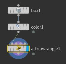 'attribwrangle1' 노드의 첫번째 인풋에 주의해서 연결한다.