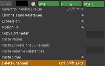Delete Channels 의 단축키는 Ctrl+Shift+좌클릭 이다. 자주 사용하는 기능이므로 알아두면 굉장히 편리하다.