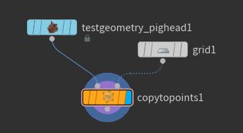 연결한 뒤에는 'copytopoints1' 노드의 Display Flag 를 선택한다.
