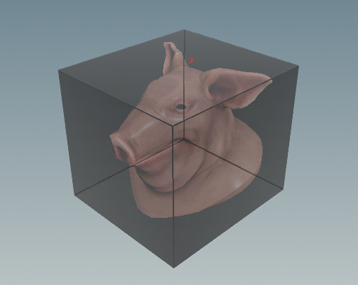테스트 오브젝트 Pig Head 의 Bounding Box
