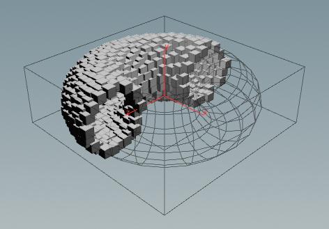토러스를 형성하는 VDB 볼륨을 비주얼라이즈 한 모습