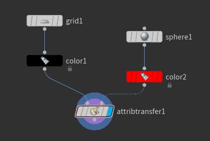 연결한 뒤에는 'attribtransfer1' 노드의 Display Flag 를 선택하도록 한다.