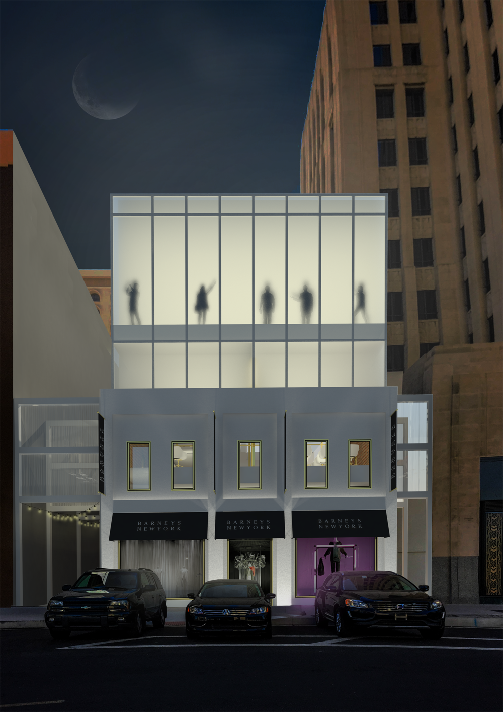 New Facade; fitting rooms are semi exposed to the street providing privacy with frosted glass, showcasing the many gender less silhouettes trying on gender free clothing.
