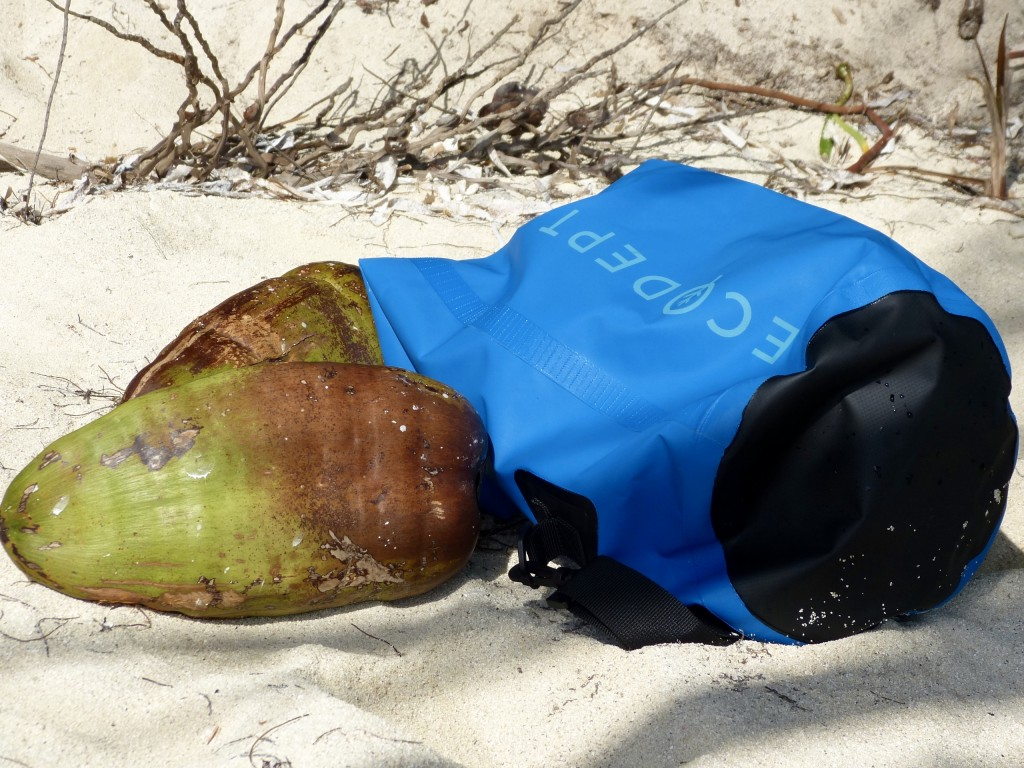 Dry bag and coconuts