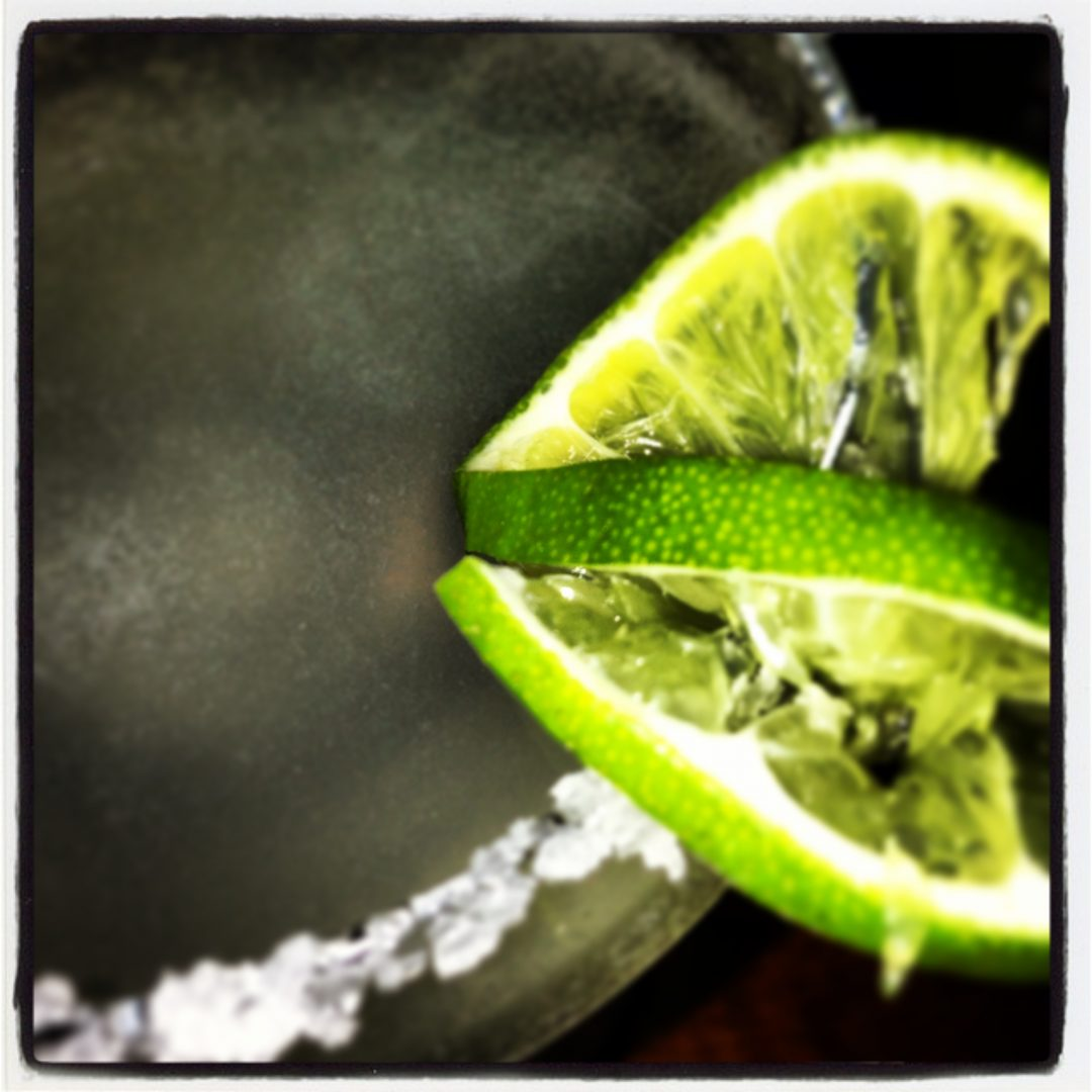 Lime in the tequila gimlet.