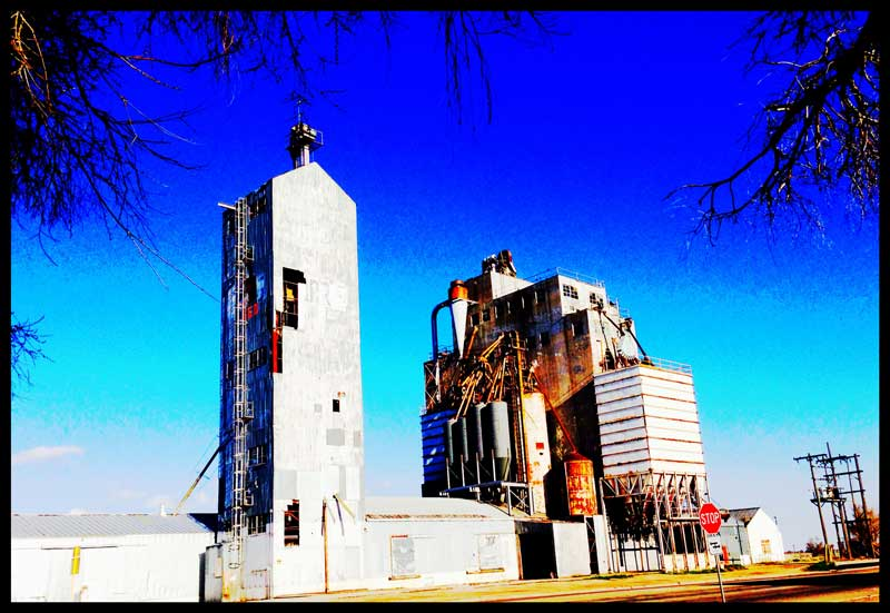 The grain elevator in Ault, CO is a landmark.