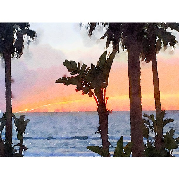 Watercolor Mexican sunset #Waterlogue #sunset #lamision #mexico