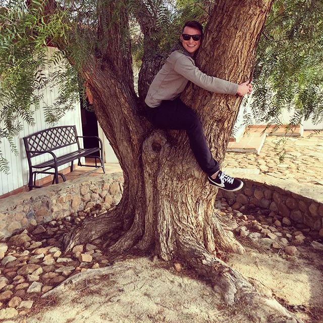Tree Hugger! The story is that if you hug a red pepper tree, it will release any negativity and bring good luck! At Vina de Frannes in the Guadalupe Valley
