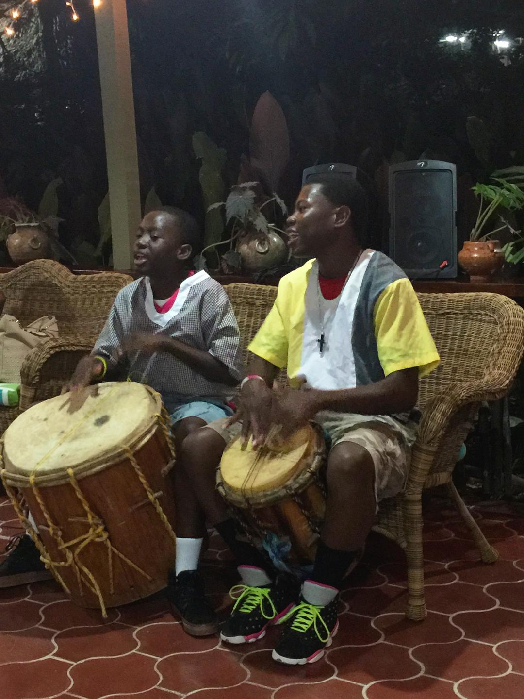 Garifuna boys playing drums