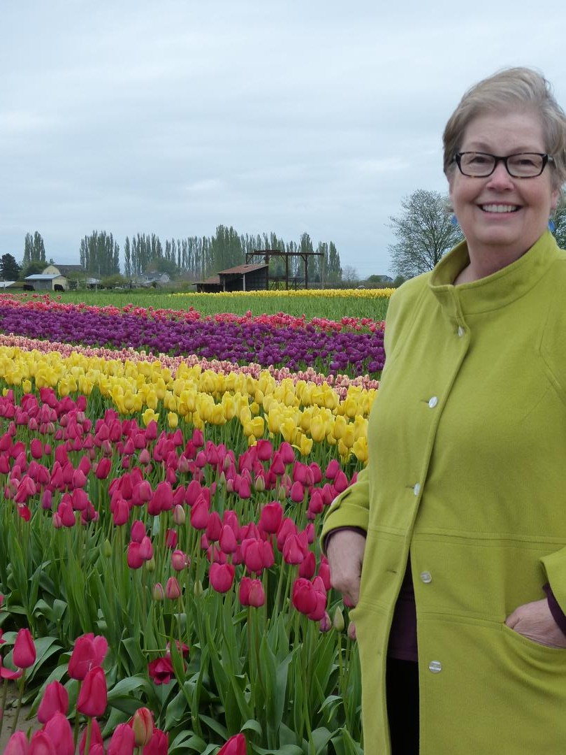 Susan trying to stay warm out in the tulip fields