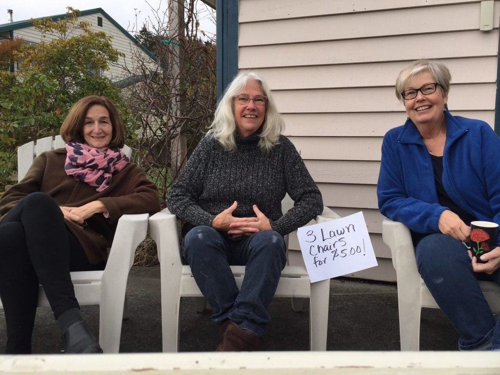 3 lawn chairs $5 ... 3 ladies...priceless! Especially Mardelle and Susan who spent all day Saturday helping me with the garage sale. I couldn't have done it without them.