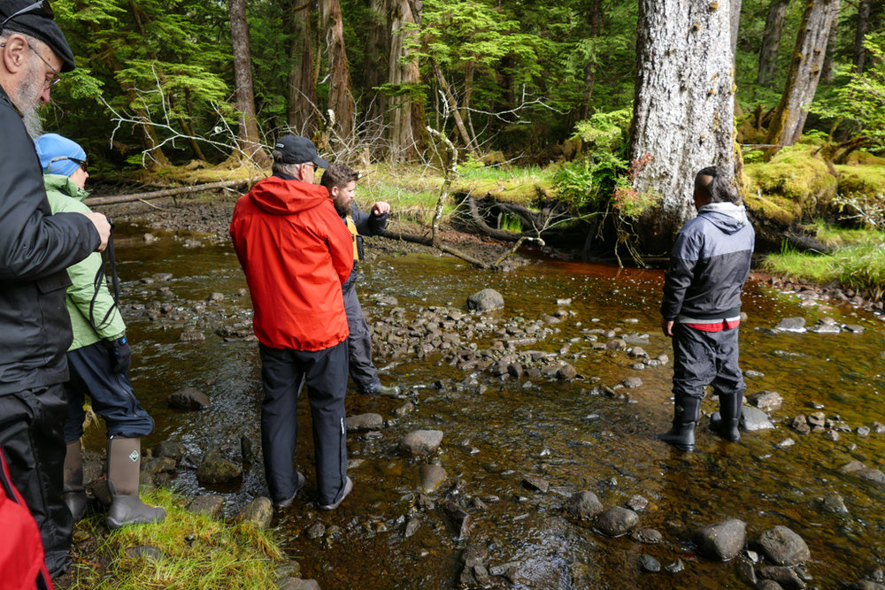 James and Matt describing the fishing weir