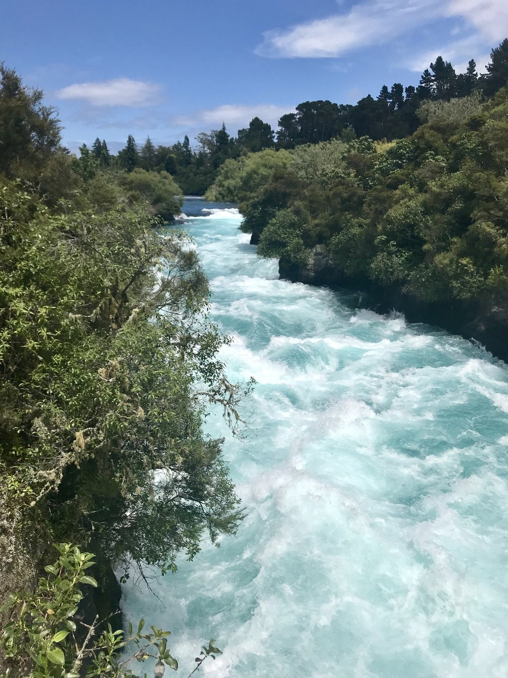 The water at Huka Falls is an amazing tropical turquoise.
