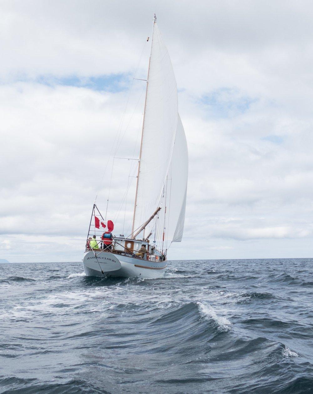 Schooner  Passing Cloud  sailing off Haida Gwaii