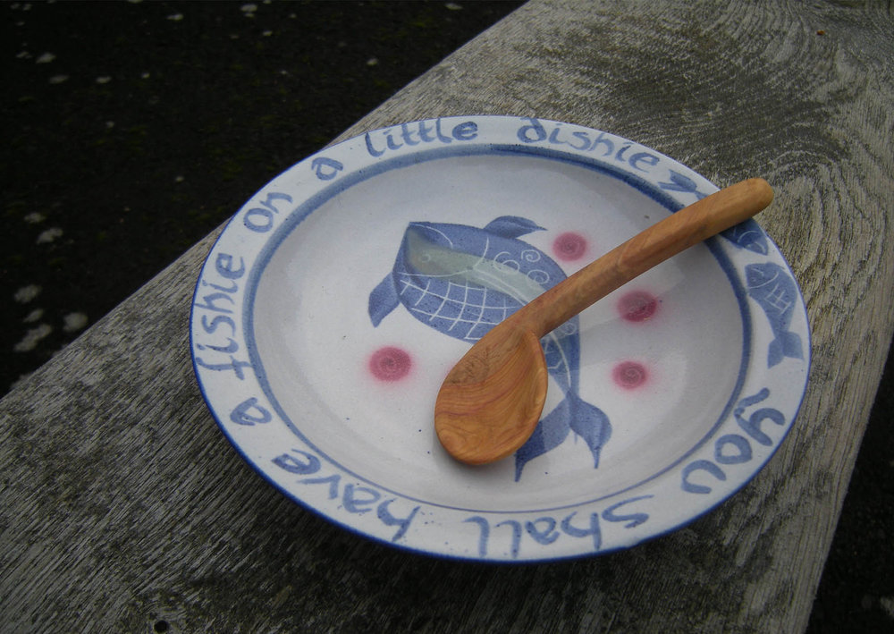 Kinsman Blake, You Shall Have a Fishie, Ceramic Childs Plate and Hand Carved Right Handed Spoon