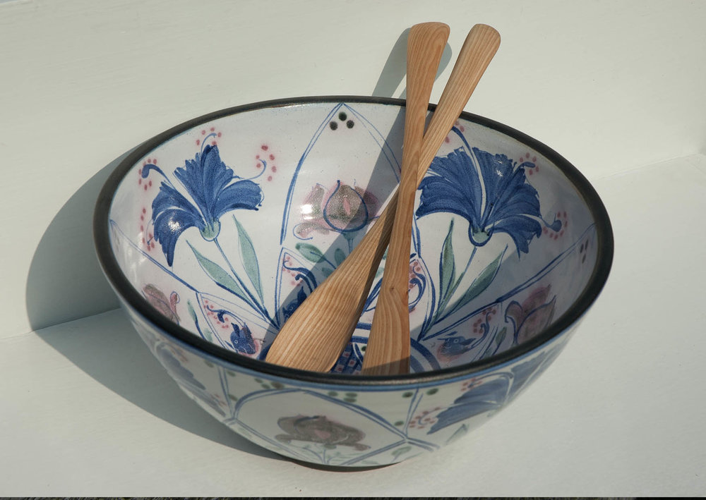 Kinsman Blake, Ceramic Salad Bowl and Hand Carved Salad Servers
