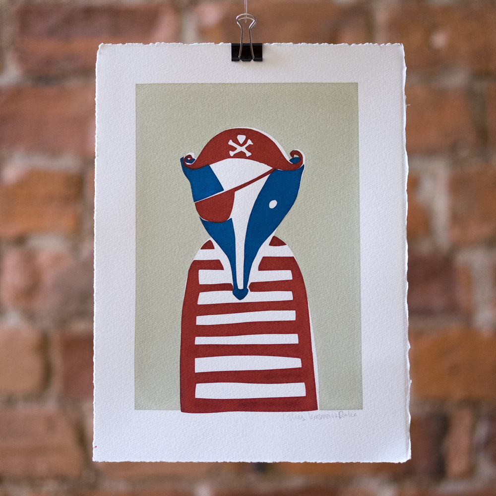 Jolly Badger. Pirate Badger mugshot. Screen Print.