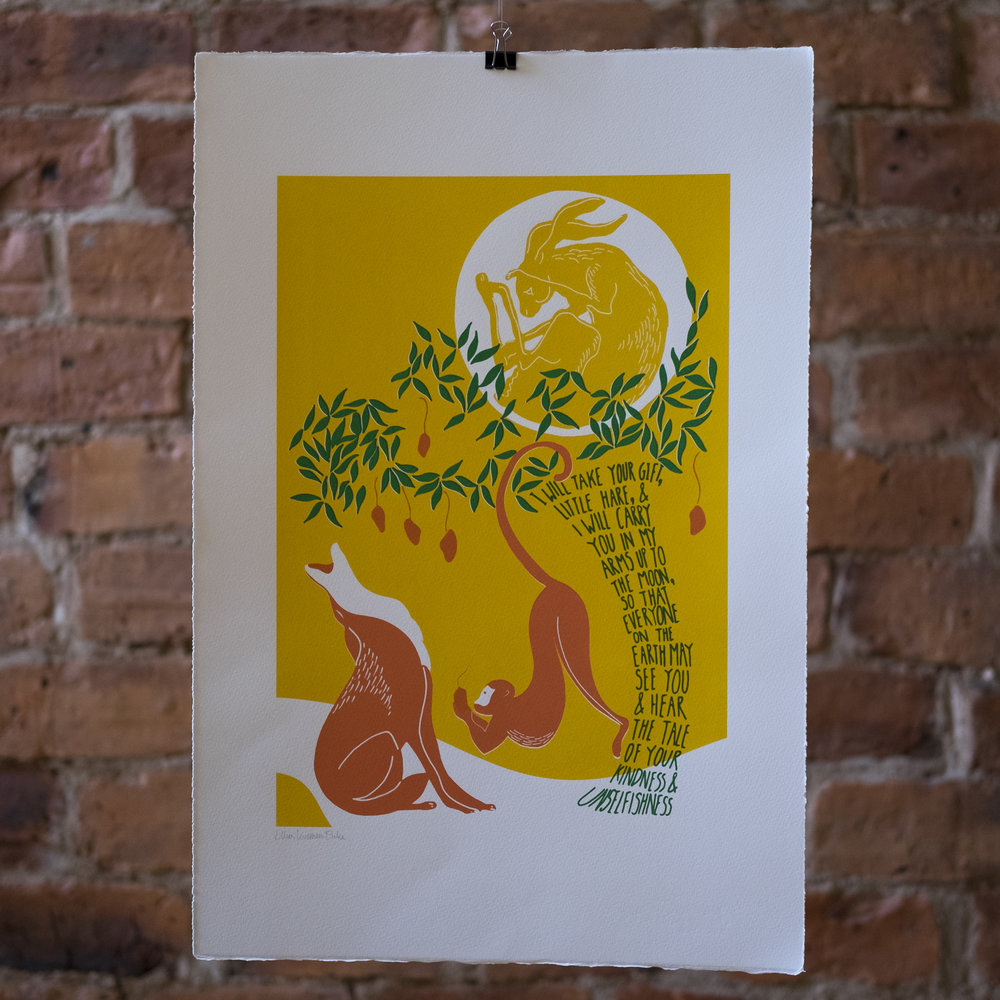 The Hare in the Moon. Indian 'Jataka' tale. Screen Print.