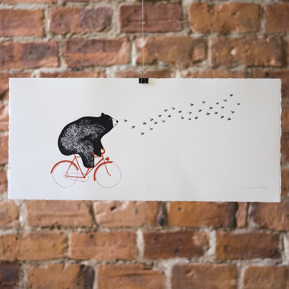 A Bicycle Built for Two. Bear on a Bicycle. Honey Bees. Screen Print.