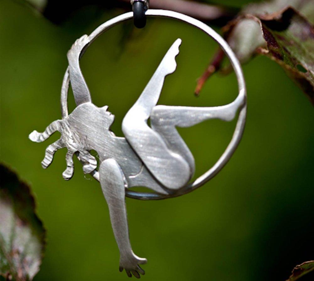 Ring Trapeze.jpRobyn Kinsman Blake, Silver, Circus, Ring Trapeze, Necklace
