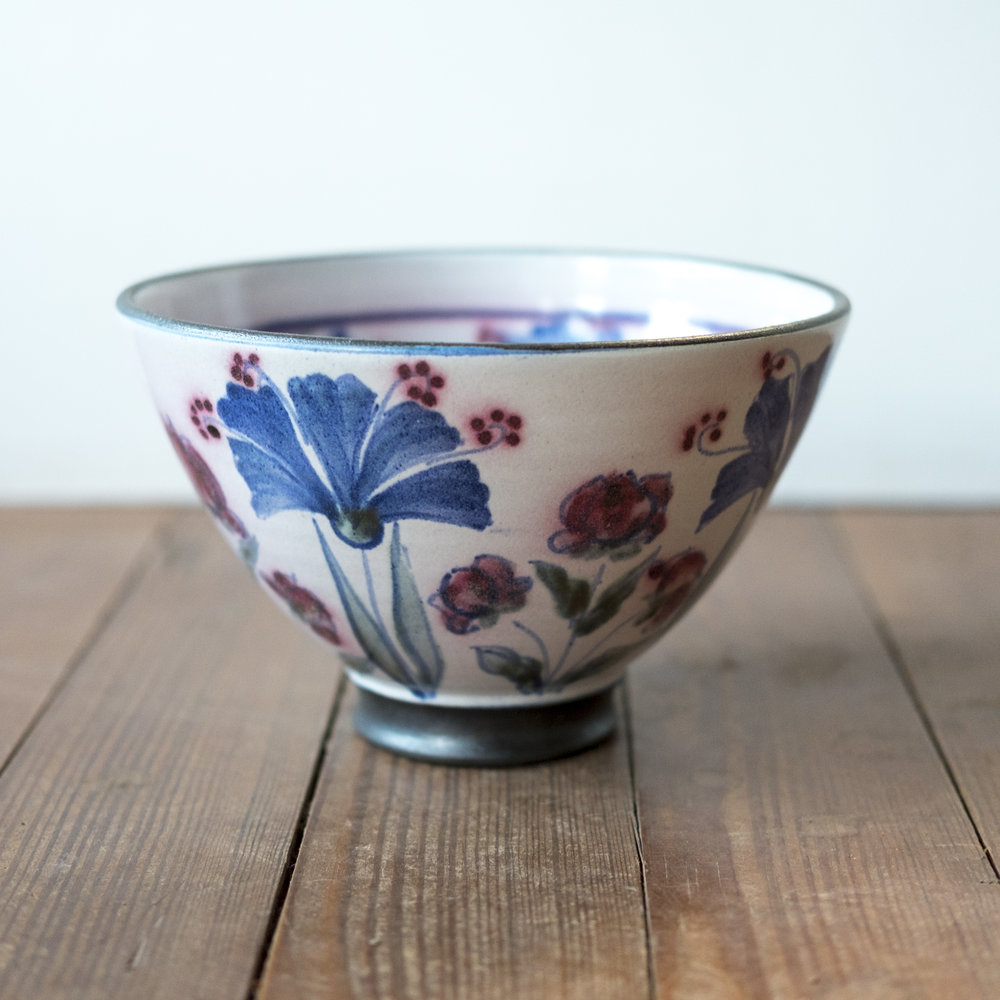 Kinsman Blake Ceramic Fruit Bowl Flowers Design