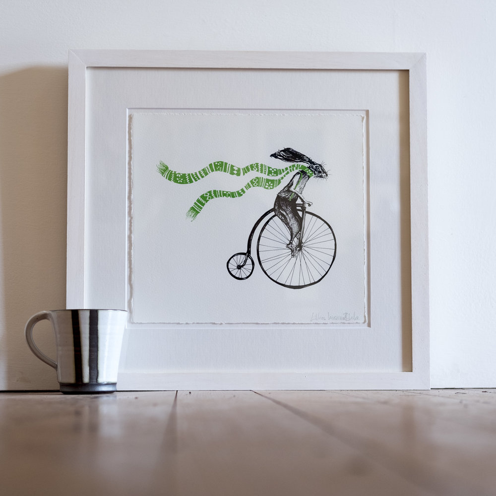 I'm Late for a Very Important Date. Hare on Penny Farthing Bicycle. Screen Print.