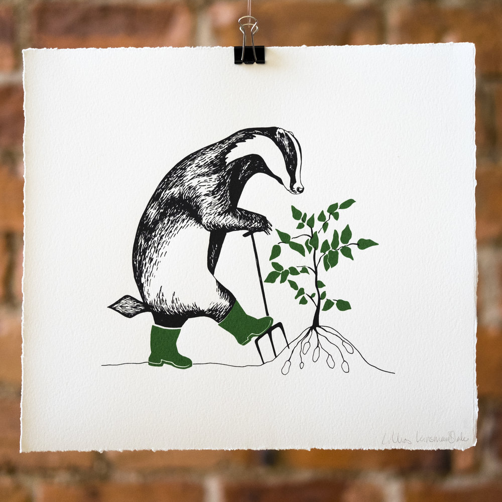 Lifting Potatoes. The Gardening Badger. Screen Print.