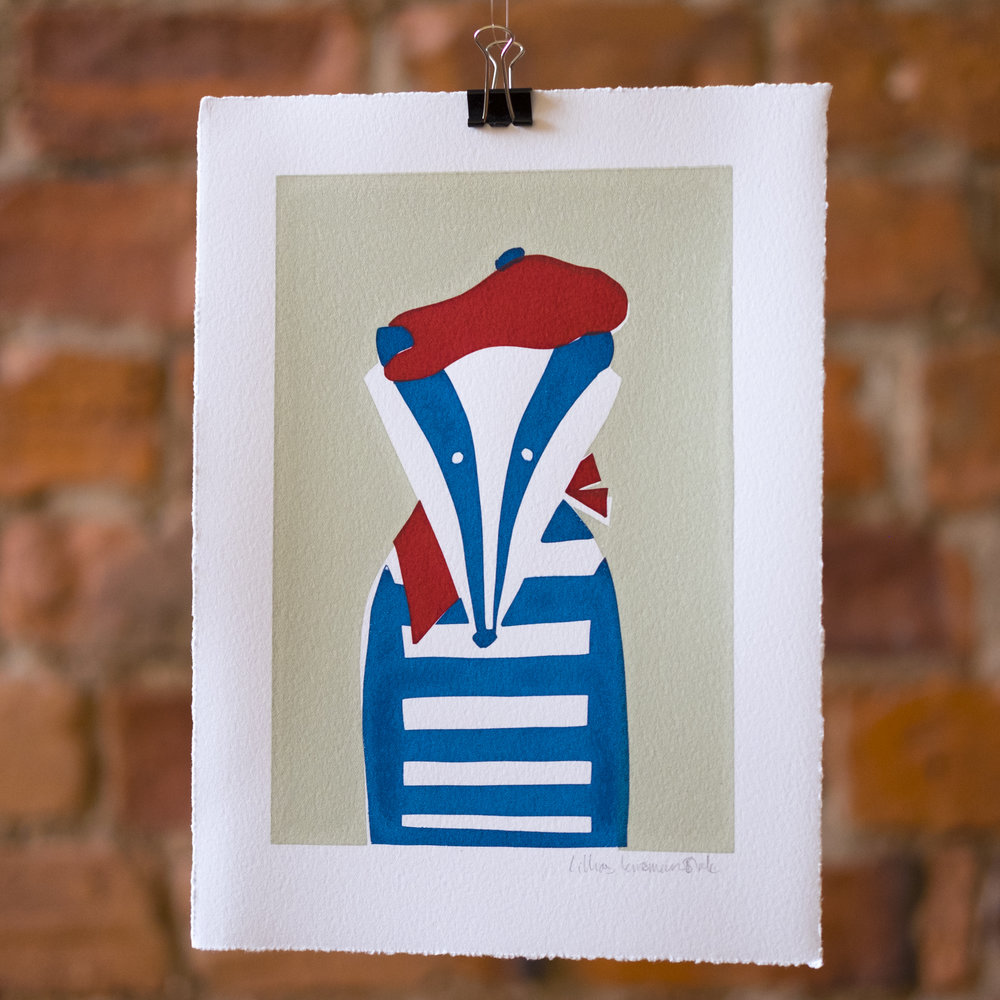 Monsieur Badger. Breton Stripes. French Badger Mugshot. Screen Print.
