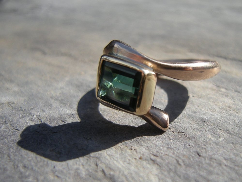 Up cycled Gold and Touramline Ring.JPG